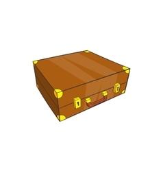 Vintage brown suitcase icon cartoon style vector