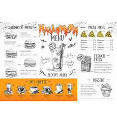vintage halloween menu design restaurant menu vector image