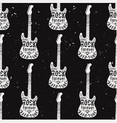 vintage seamless pattern with guitar diamond vector image