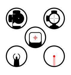 Weapon scope or gun sight icons set main types vector