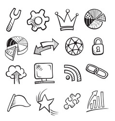 web and computer icon set vector image