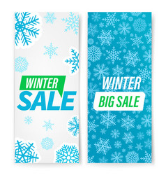 Winter sale banners with snowflakes set vector