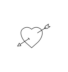 heart with arrow line icon love sign valentines vector image