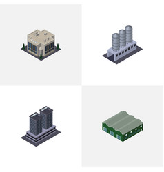 Isometric urban set of tower company water vector