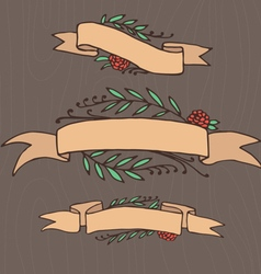 Set of doodle ornate floral ribbons vector image vector image