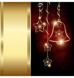 Sparkling red gold christmas bell snowflakes vector