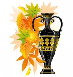 antique amphora with autumn leaves vector image vector image