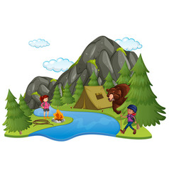 camping site with campers and big bear vector image