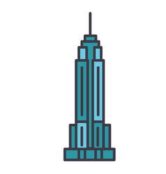 empire state building flat line vector image