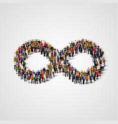 large group of people in the infinity sign shape vector image vector image