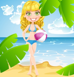 Playful girl with inflatable ball on sunny beach vector image vector image