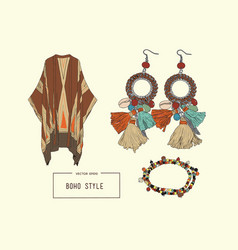 bohemian fashion style set boho and gypsy clothes vector image vector image