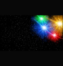 bright color of lights in black sky vector image
