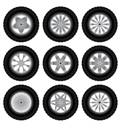 Car wheels with tires vector image