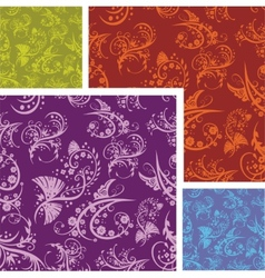 Chinese Floral - seamless pattern set vector image vector image