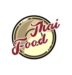 color vintage thai food emblem vector image vector image