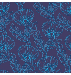 Garden flowers seamless hand-painted outline vector