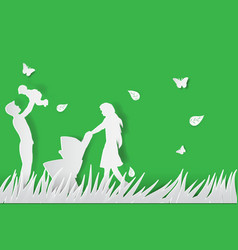 green background happy family having fun playing vector image vector image