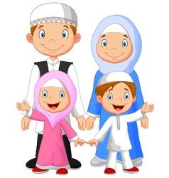 Happy Muslim family cartoon vector image vector image