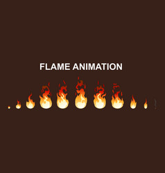 light fire flames animation collection vector image