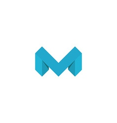 Logo M letter blue 3D mockup isometric graphic vector image vector image