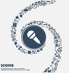 Microphone sign icon in the center Around the many vector image