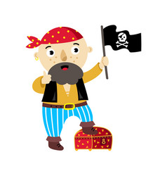 pirate character with jolly roger flag icon vector image vector image