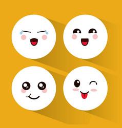 set kawaii emoticons expression vector image