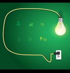 Speech bubble with light bulb idea concept vector image vector image