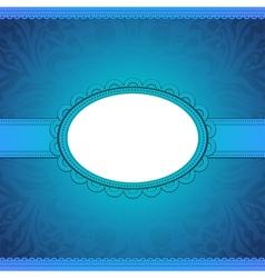 squared label on blue floral background vector image