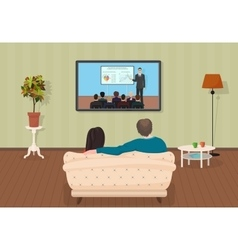 Young family man and women watching TV training vector image