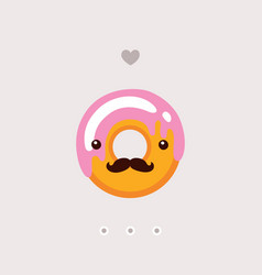 cute donut with strawberry glaze delicious sweet vector image vector image