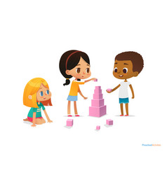 multiracial children build tower with pink blocks vector image