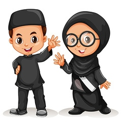 Muslim boy and girl in black costume vector image