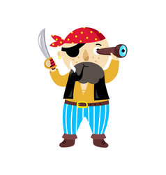 Pirate character with sword icon vector