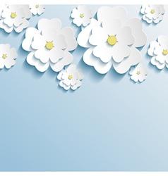 Stylish wallpaper with 3d flowers sakura blossom vector image vector image