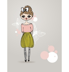Vintage card with cute hand drawn girl vector image
