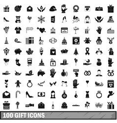 100 gift icons set simple style vector