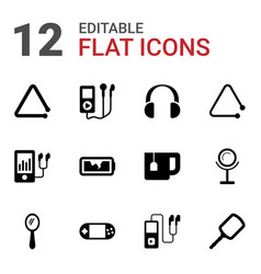 12 portable icons vector image