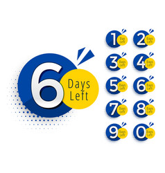 Abstract number of days left symbol design vector