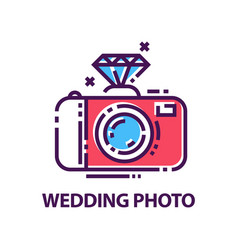 abstract wedding photography logo template vector image