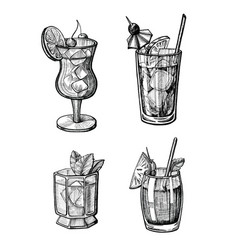 Alcohol cocktail hand drawn set vector