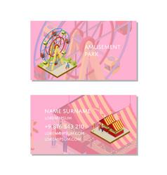 Amusement park business card template vector
