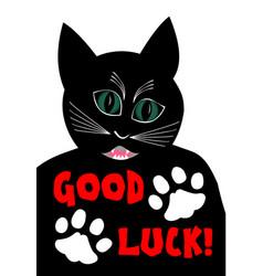 Angry black cat wishing good luck cartoon vector