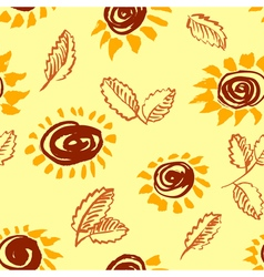 Artistic seamless pattern with flower and leaf vector image