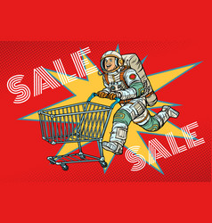 astronaut on sale shopping cart trolley vector image