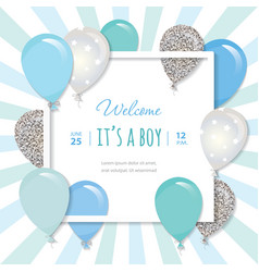 Balloons in paper cut out square frame birthday vector