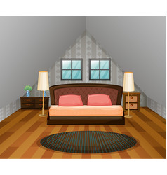 bedroom scene with wooden floor vector image