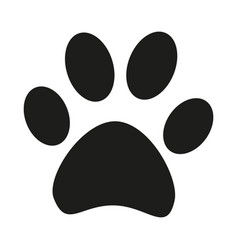 Black and white cat paw footprint silhouette vector