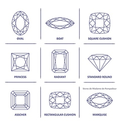 Blueprint outline jewelry gems cuts vector